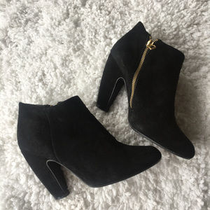 Steve Madden Panelope Ankle Booties in Black Suede